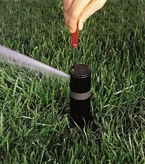 a Scotts Valley Sprinkler Repair specialist adjusts a spray head